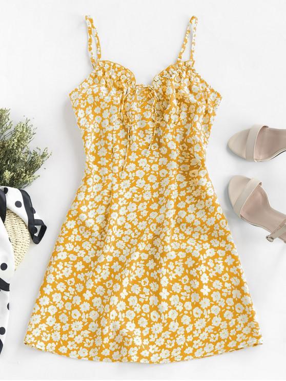 womens ZAFUL Ditsy Print Frilled Cami Mini Dress - BRIGHT YELLOW L