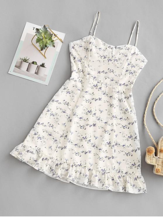 latest Tiny Floral Ruffles Cami Dress - WHITE M