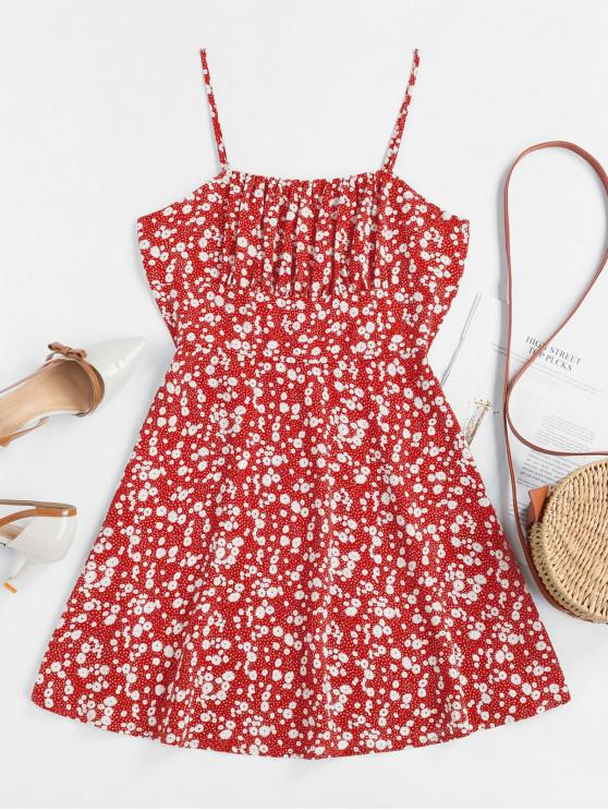 unique ZAFUL Tiny Floral Empire Waist Flare Dress - RED M