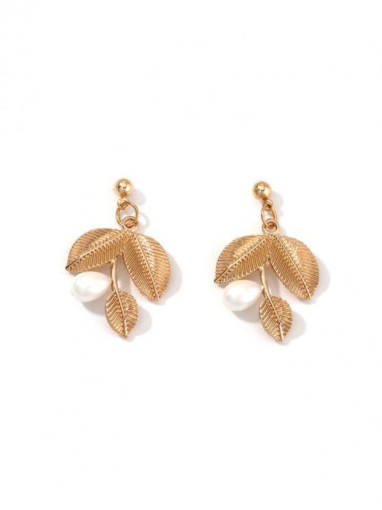Pendientes de aleación de la forma de hoja de perlas de imitación - Oro
