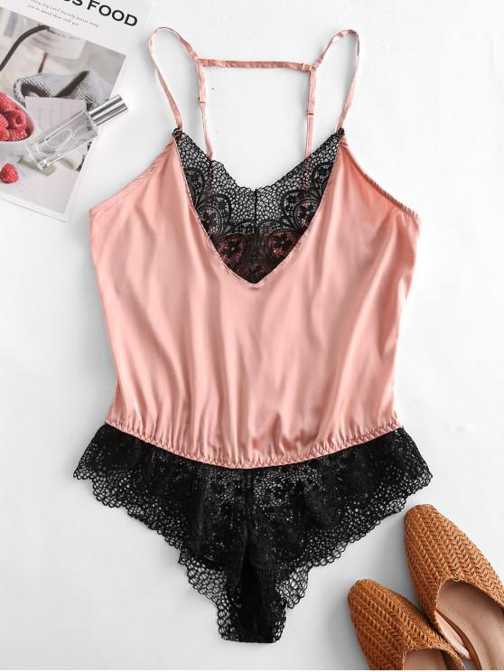 new Satin Lace Panel Cami Bodysuit - DEEP PEACH M