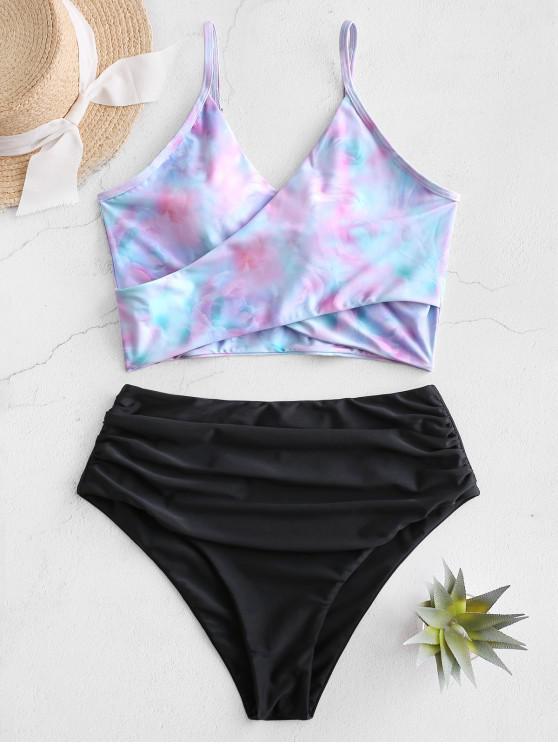 ZAFUL Tie Dye Cirss Cross Tankini Swimwear - أسود L