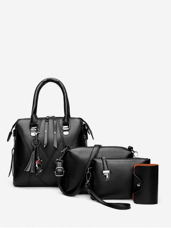 unique 4 Piece Faux Leather Geometric Tote Bag Set - BLACK