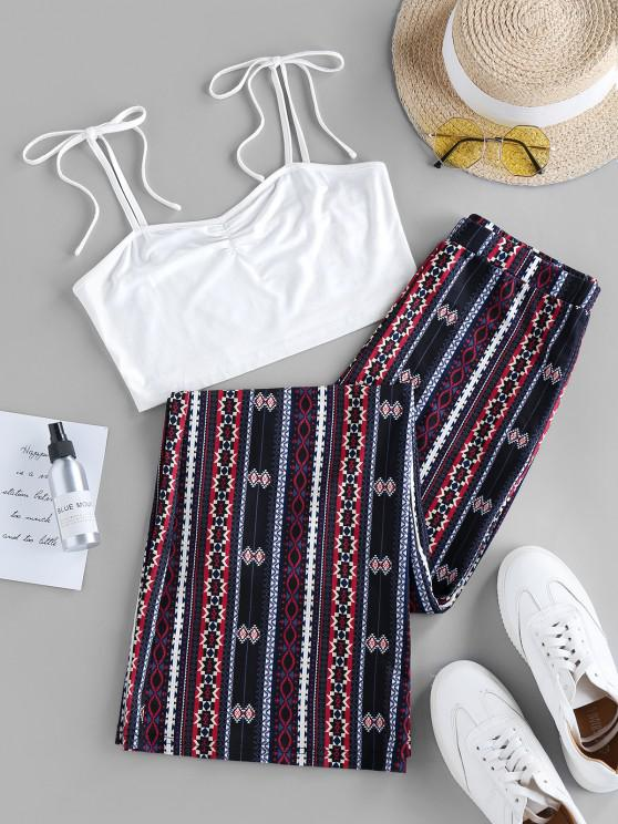 buy ZAFUL Ethnic Tie Shoulder Wide Leg Two Piece Set - BLACK XL