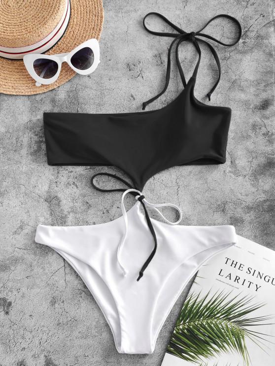 online ZAFUL Tie Two Tone One Shoulder Monokini Swimsuit - BLACK S