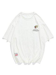 Embroidery Letter Graphic T-shirt - White Xs
