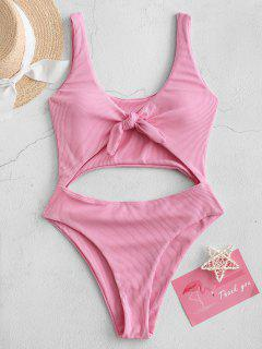 ZAFUL Cut Out Knotted Solid One-piece Swimsuit - Pink Xl