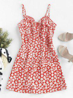 ZAFUL Ditsy Print Frilled Cami Mini Dress - Lava Red M