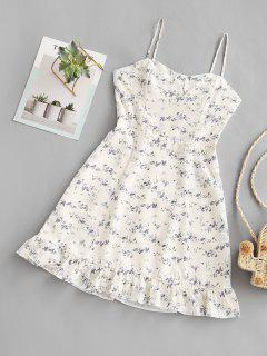 Tiny Floral Ruffles Cami Dress - White M