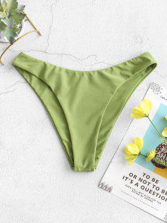 ZAFUL Solid High Cut Bikini Bottom - Green Snake S