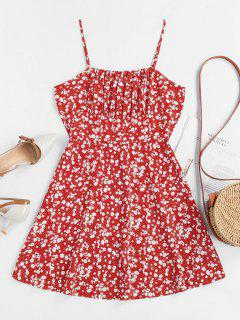 ZAFUL Tiny Floral Empire Waist Flare Dress - Red S