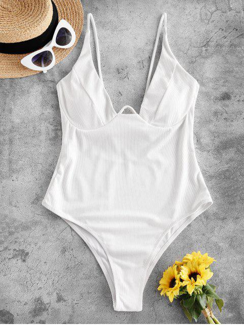 online ZAFUL Underwire Ribbed High Cut Knot Swimsuit - WHITE S Mobile