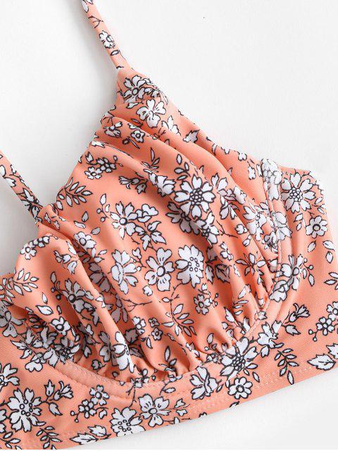 ZAFUL Kreuzer und Querer Bikini Badebekleidung mit Blumenmuster - Dunkler Pfirsich M Mobile