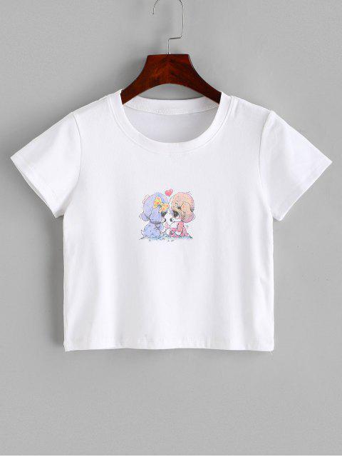 T-shirt Court Chiot Imprimé à Col Rond - Blanc L Mobile