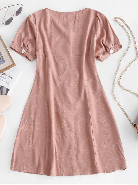 trendy Floral Jacquard Button Up Flare Dress - PINK L Mobile