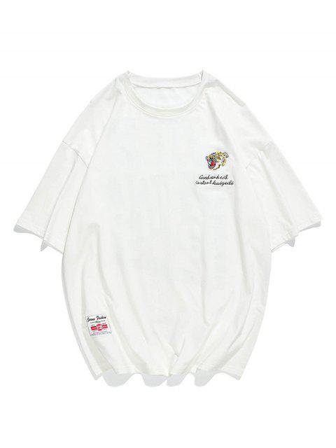 T-Shirt con Grafica di Lettere - Bianca XS Mobile