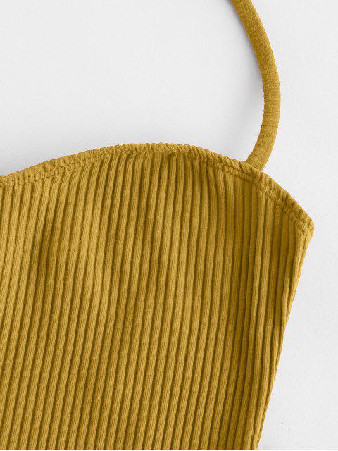 new Solid Halter Ribbed Crop Top - YELLOW L Mobile