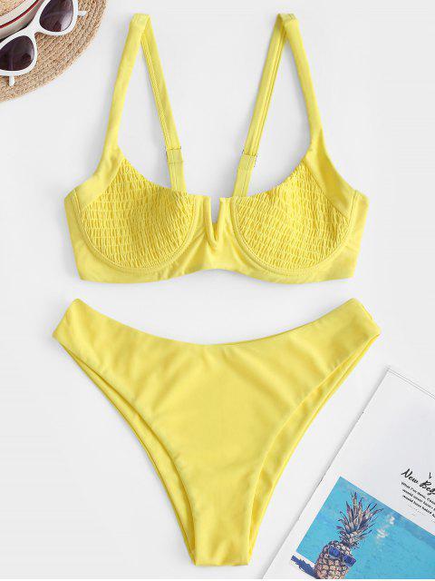 Bikini Increspato con Ferretto di ZAFUL - Giallo M Mobile