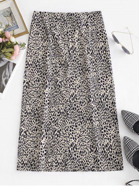 online Leopard Print Mid Calf Flare Skirt - LEOPARD L Mobile