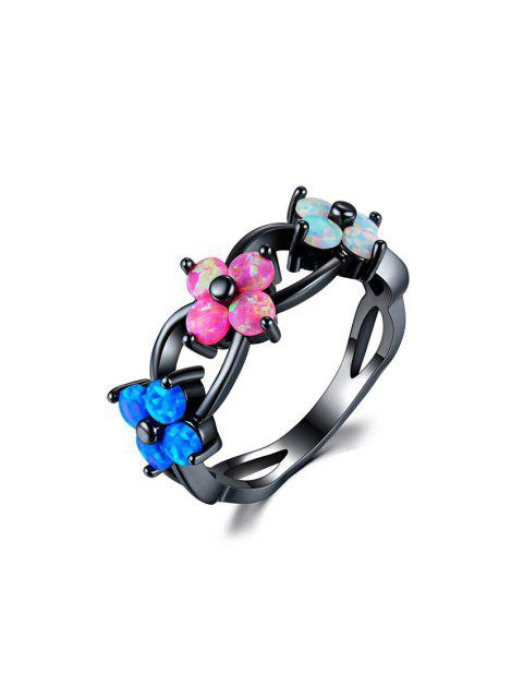 shops Flowers Shape Hollow Out Ring - MULTI US 6 Mobile