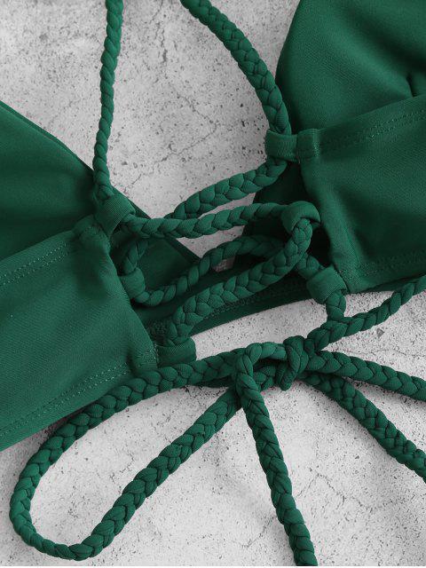 ZAFUL Biquíni de Impressão Floral com Folhas - Verde profundo S Mobile