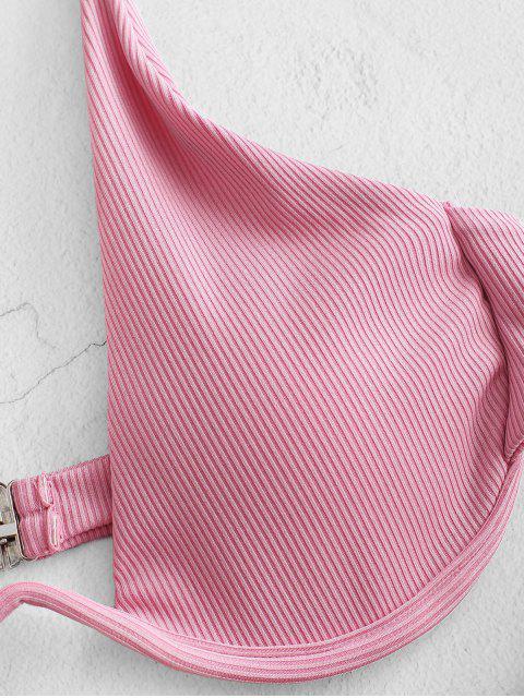 ZAFULソリッドカラーリブアンダービキニセット - ピンク S Mobile