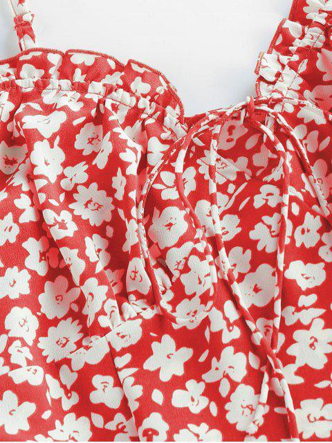 ZAFUL Mini Robe Fleurie Imprimée à Volants à Bretelle - Rouge Lave S Mobile