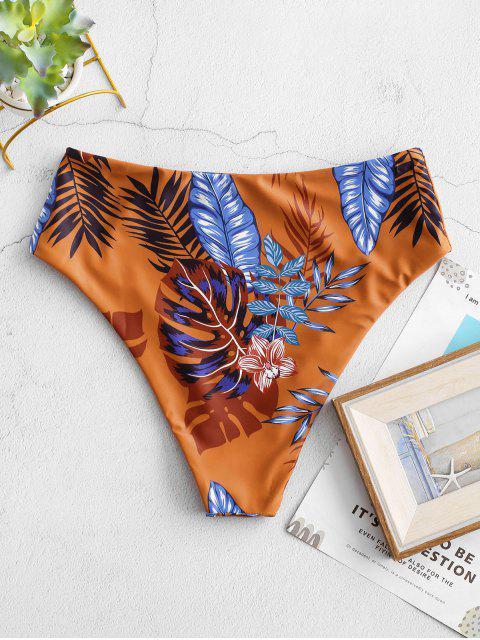 outfits ZAFUL High Waisted Floral Leaves Print Bikini Bottom - MULTI-A S Mobile