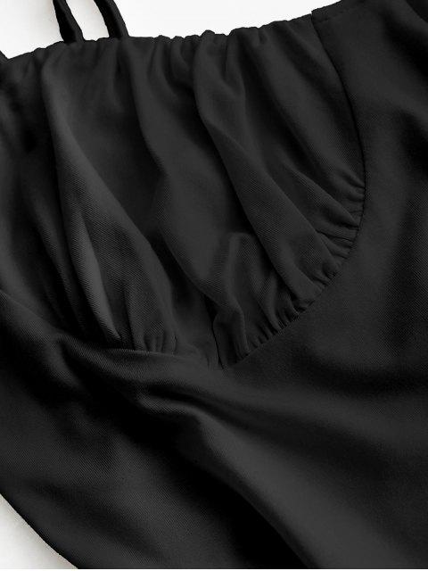 buy ZAFUL Solid Color High Cut Cami Bodysuit - BLACK M Mobile