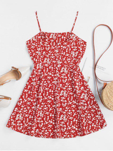 ZAFUL Winzige Blumen Empire Taille Flare Kleid - Rot S Mobile