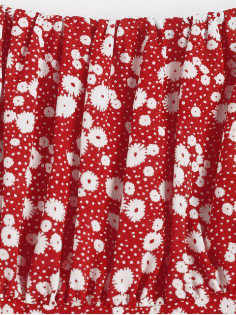 ZAFUL Vestido Minúsculo con Cintura Imperio Floral - Rojo S Mobile