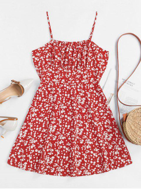 ZAFUL Tiny Floral Empire Waist Flare Dress - أحمر S Mobile