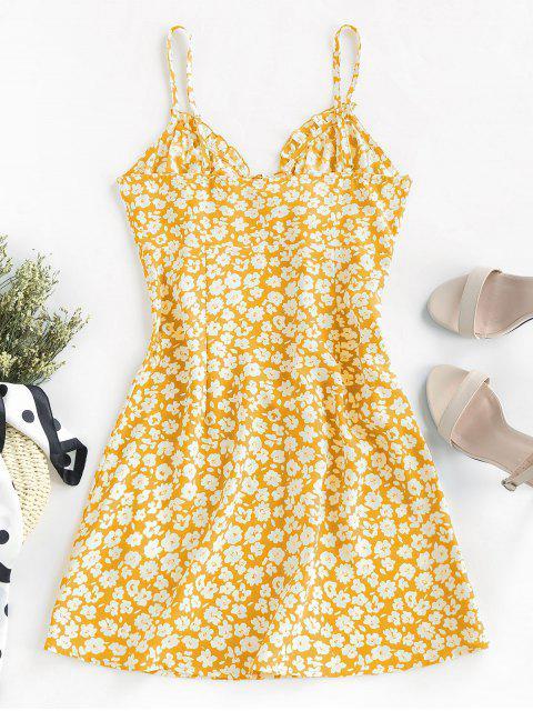 best ZAFUL Ditsy Print Frilled Cami Mini Dress - BRIGHT YELLOW XS Mobile