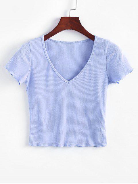 T-Shirt a Costine in Tinta Unita con Scollo a V - Azzurro S Mobile