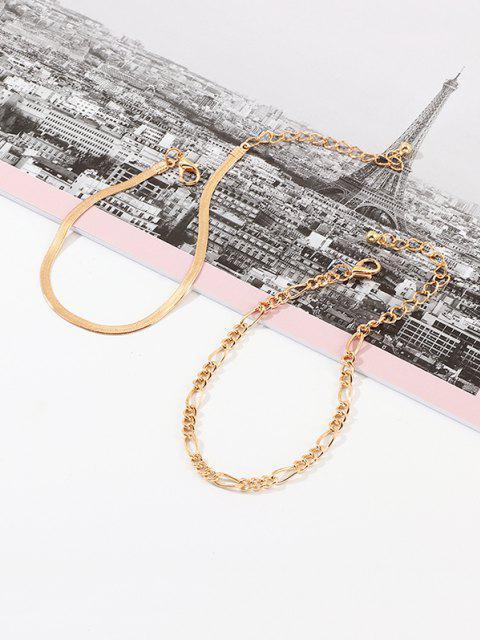 women's 2Pcs Brief Chain Bracelets Set - GOLD  Mobile