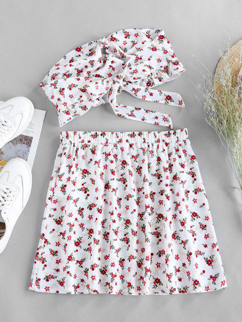fashion ZAFUL Ditsy Floral Knotted Bandeau Two Piece Set - WHITE L Mobile