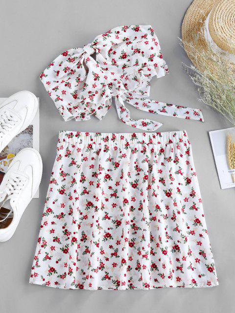 chic ZAFUL Ditsy Floral Knotted Bandeau Two Piece Set - WHITE XL Mobile