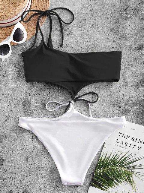ZAFUL Maillot de Bain Monokini Bicolore Noué à Une Epaule - Noir L Mobile