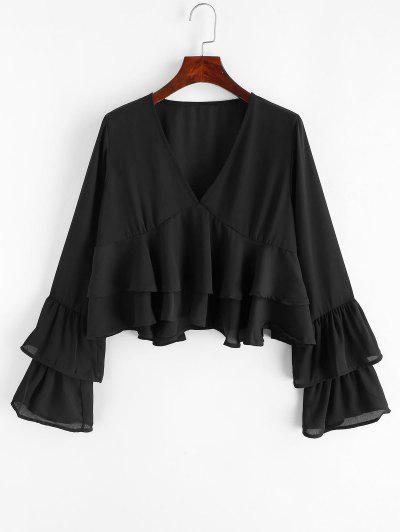 Layered Sleeves V Neck Crop Blouse - Black M