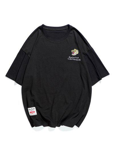 Embroidery Letter Graphic T-shirt - Black Xs