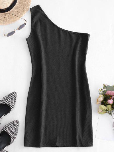 One Shoulder Sleeveless Ribbed Bodycon Dress - Black M