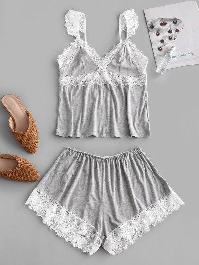 Eyelash Lace Panel Pajamas Set