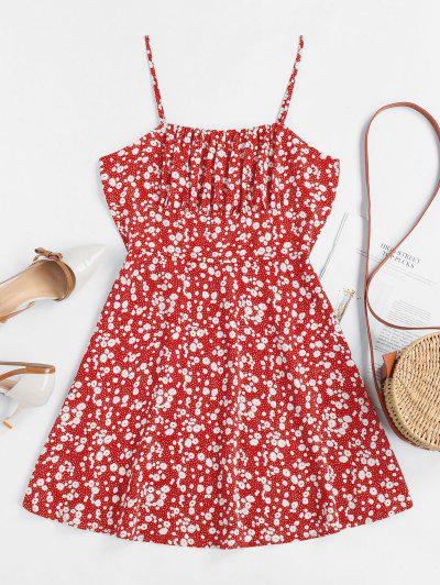 ZAFUL Tiny Floral Empire Waist Flare Dress - Red L