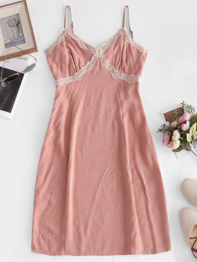 Lace Panel A Line Cami Dress - Pink L