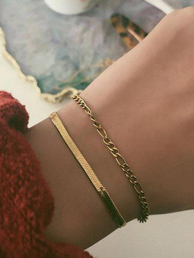 2Pcs Brief Chain Bracelets Set - Gold