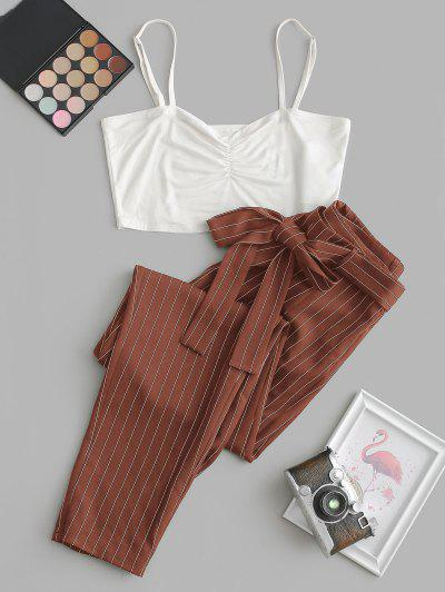 ZAFUL Cropped Cami Top And Striped Print Belted Pants Set - Rust S