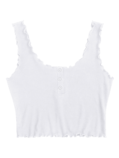 ZAFUL Lettuce Trim Buttoned Crop Tank Top