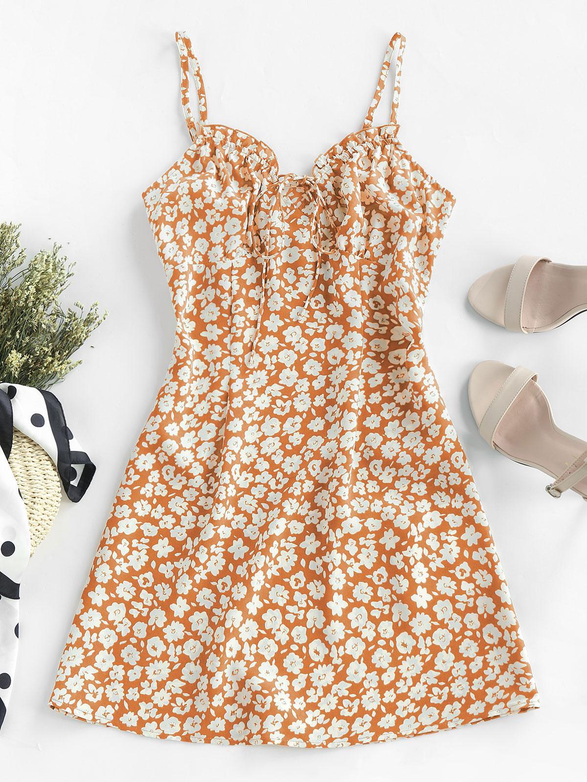 ZAFUL Ditsy Print Frilled Cami Mini Dress