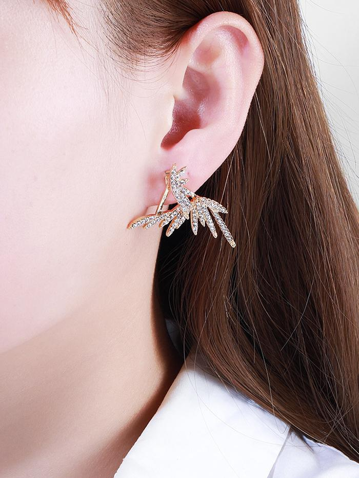 Rhinestone Feather Shape Earrings