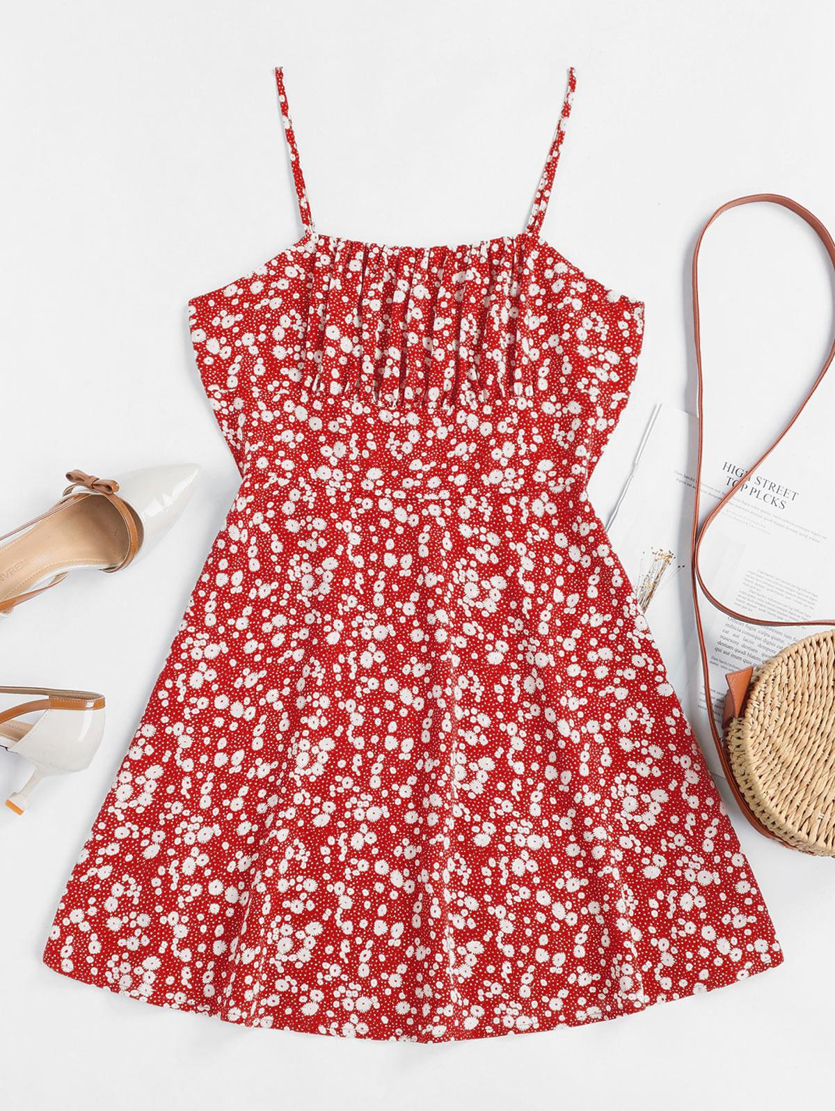 ZAFUL Tiny Floral Empire Waist Flare Dress